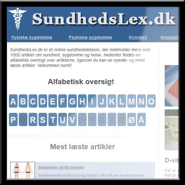 Sundhedslex hjemmeside
