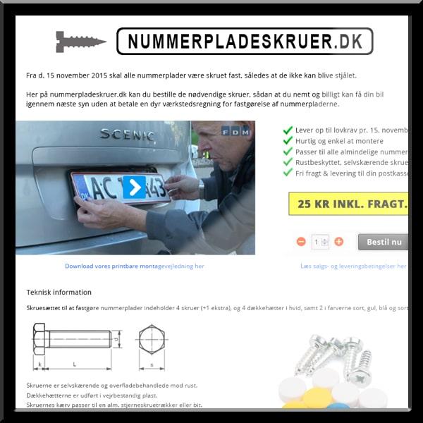 nummerpladeskruer.dk / wordpress & woocommerce